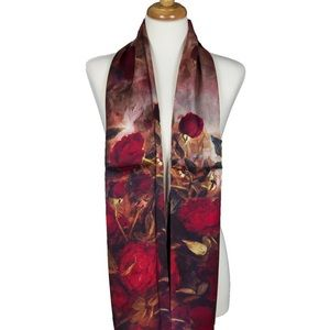 Red Roses Floret Soft Mulberry Satin Silk Scarf